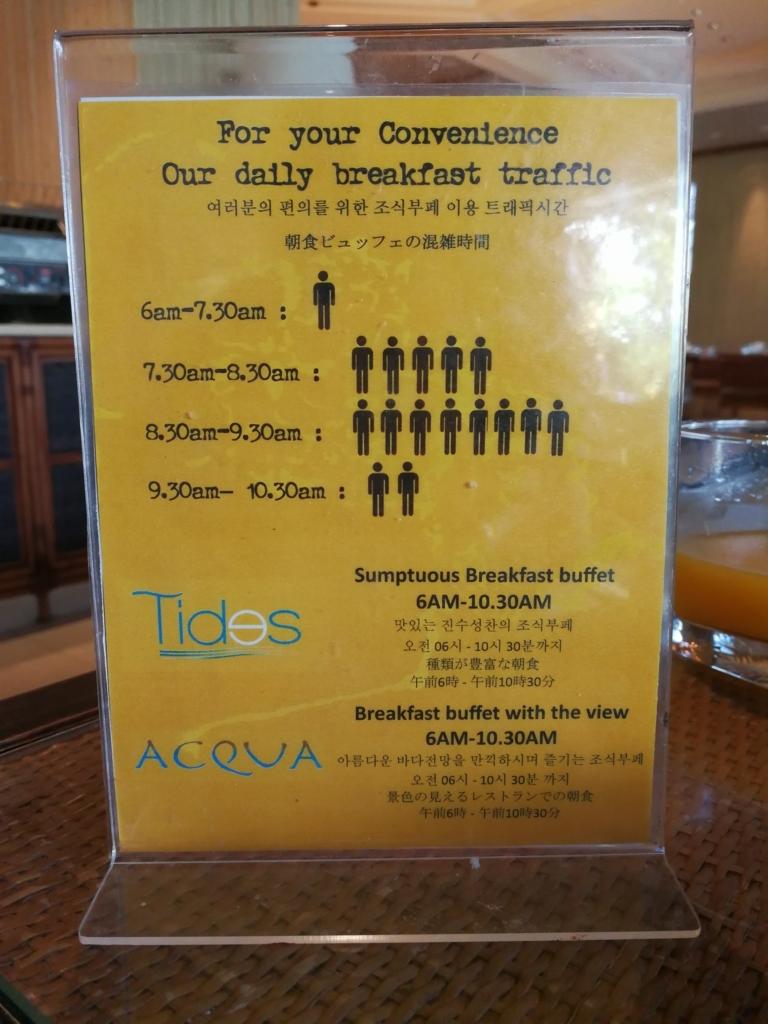 シャングリラ・マクタンの朝食混雑スケジュール