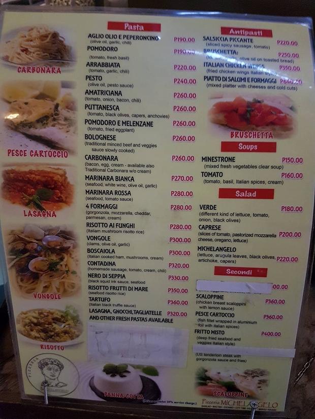 フィリピン・セブ島の美味しいイタリアン・ミケランジェロ